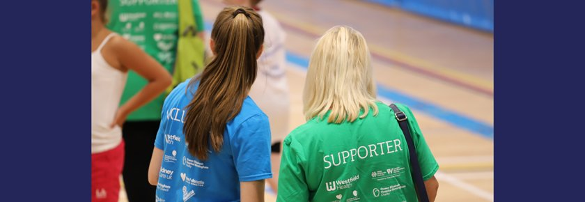 Volunteer and supporter spectating at British Transplant Games