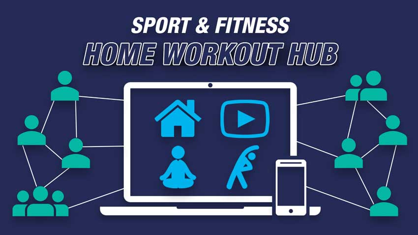 Sport & Fitness Home Workout Hub - Laptop screen with 4 icons (house, play button, yoga and classes) and icons showing groups of people connected to the laptop virtually