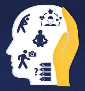 Silhouette of a head with icon representing the activities in Uni Mental Health Day such as meditation