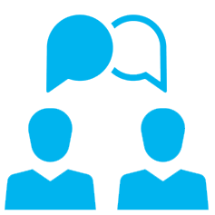 Blue icon: two people talking