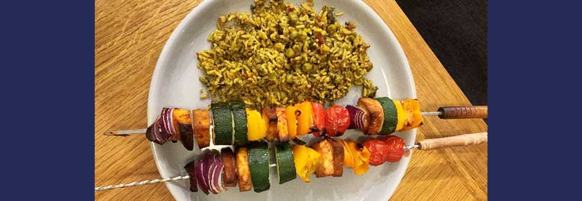 Rainbow kebab recipe with a side of rice