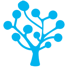 Blue icon: a tree with lots of branches