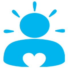 Blue icon: person with a heart on their chest