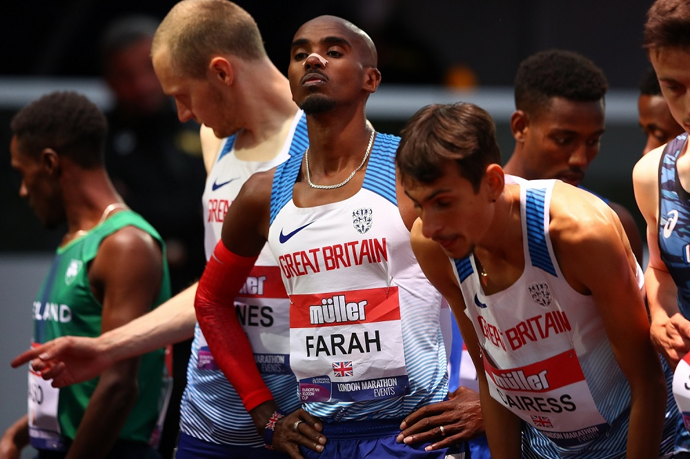 Mo Farah looks on ahead of the Mens International Race A during the Muller British Athletics 10,000m Championships & European Athletics 10,000m Cup 2021 at University of Birmingham Athletics Track on June 05, 2021 in Birmingham